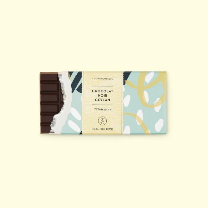 Tablette de chocolat noir Ceylan, 75% cacao, Jean Sulpice