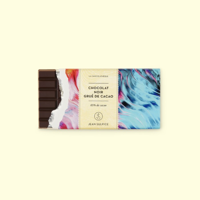 Dark chocolate bar cocoa nibs, 65%, Jean Sulpice