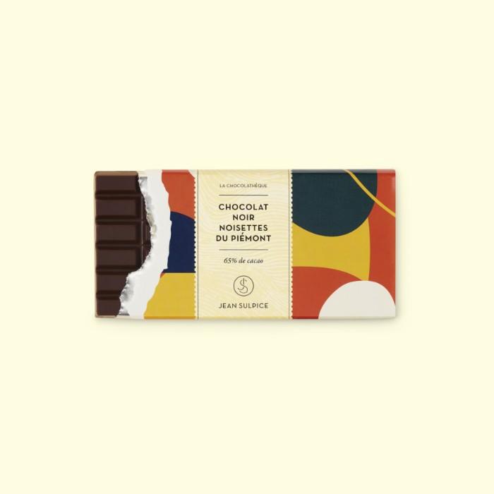 tablette chocolat noir 75% cacao, noisettes du piémont, Jean Sulpice