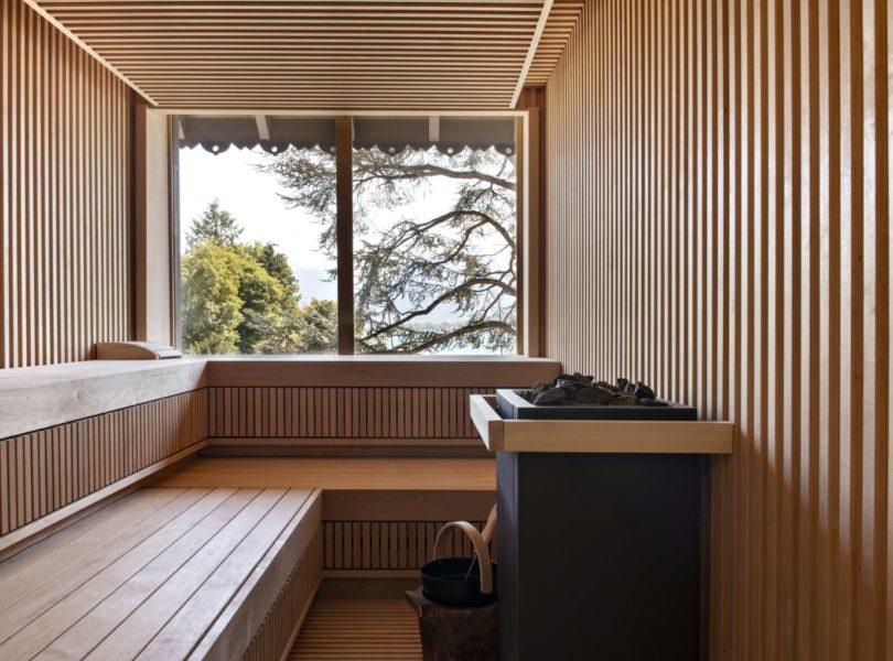 Sauna du Spa de l'Auberge au bord du lac d'Annecy